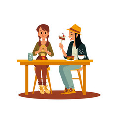 Two friend girls eating junk and sweet food flat vector