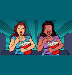 Two women react differently to the movie laughs vector