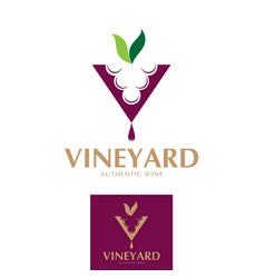 V logo alphabet vineyard theme vector