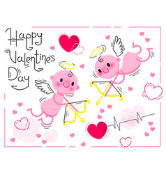 valentines day card with cute cupids and hearts on vector image