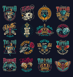vintage tattoo studio emblems vector image