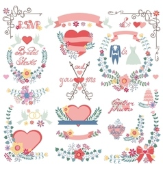 Wedding floral groupsdecor setVintage elements vector image
