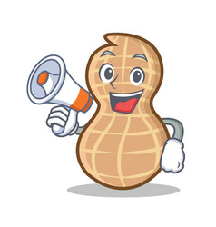 With megaphone peanut character cartoon style vector