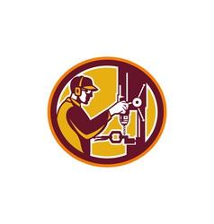 Worker drilling drill press retro circle vector