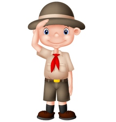 Young boyscout doing a hand sign vector