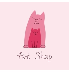 Cat mother and kitten tender embrace sign for pet vector image