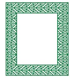 Celtic Key Pattern - green frame border vector image vector image