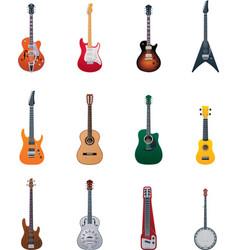 guitars icon set vector image vector image