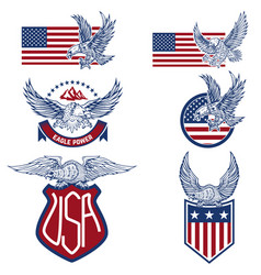 set of the usa labels with eagles emblems with vector image