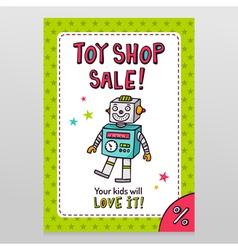 Toy shop sale flyer design with happy vintage toy vector image