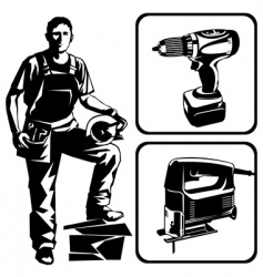 worker and tools vector image vector image