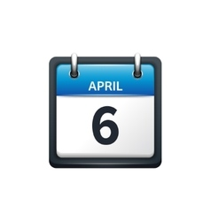 April 6 Calendar icon flat vector image vector image