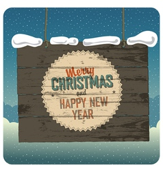christmas wooden signboard with clouds vector image vector image