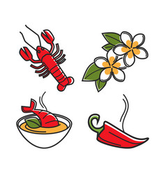 cream soup with lobster vanilla flowers and chili vector image vector image