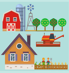 farm harvesting garden agriculture and vector image