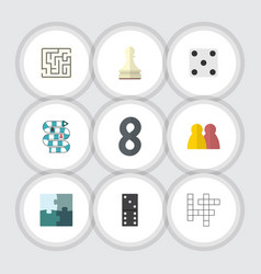 flat icon play set of pawn jigsaw people and vector image vector image