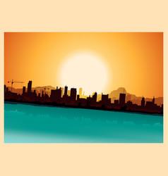 grunge city mountains landscape vector image