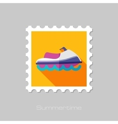 Jet Ski flat stamp with long shadow vector image vector image