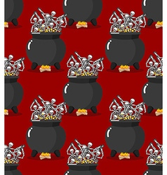 Sinners in pot in Hell seamless pattern Skeletons vector image vector image