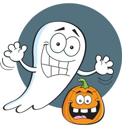 Cartoon ghost with a jack o lantern vector image