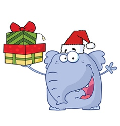 christmas elephant holds up gifts vector image vector image