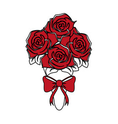 color silhouette image wedding bouquet of red vector image