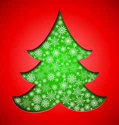Cutout paper Christmas tree with snowflakes vector image