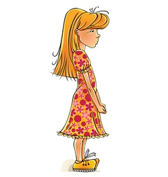 Funny cartoon little girl vector image vector image