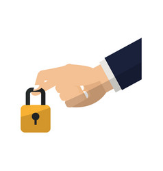 hand with padlock vector image