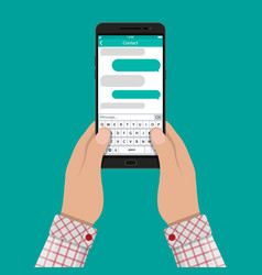 hands and smartphone with messaging sms app vector image vector image