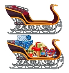 Sleigh filled with Christmas gifts isolated vector image vector image