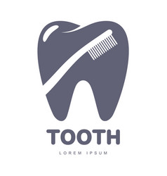 dental care logo template with toothbrush vector image