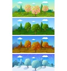 Four seasons landscape banners set vector image vector image