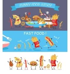 Funny Fast Food Cartoon vector image vector image