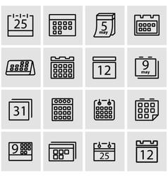 line calendar icon set vector image vector image