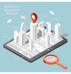 Paper mobile city navigation application software vector image vector image