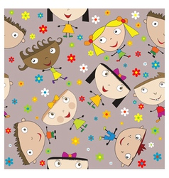 Seamless happy children vector image