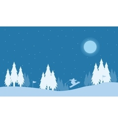 Silhouette of people skier at night holiday vector image vector image