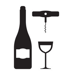 wine bottle glass and corkscrew icons vector image vector image