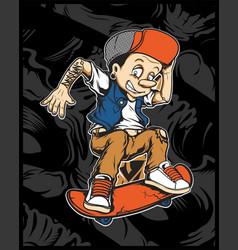 A cartoon young pinocchio with skateboard vector