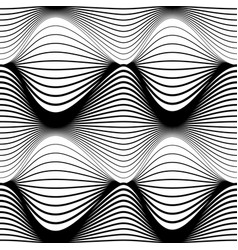Abstract seamless pattern black wavy stripes on a vector
