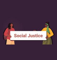 African american women activists holding stop vector