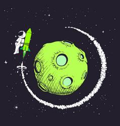 Astronaut flies around planet vector