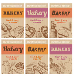 bakery posters fresh bread sketch wheat ear and vector image