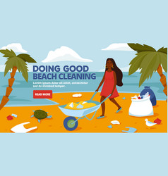 Beach cleaning banner template site vector