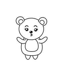 Beautiful line cute animals with expression face vector