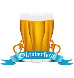 beer with pretzel at the festival oktoberfest vector image