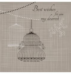 birdcage on fabric background vector image