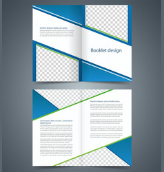 Blue bifold brochure template design business vector