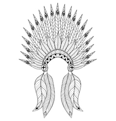 Bohemian zentangle War Bonnet with feathers vector image